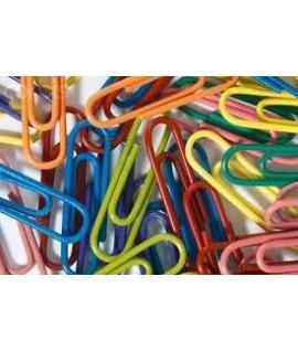 Скрепки цветные - пластик. 28 мм. 100 штук